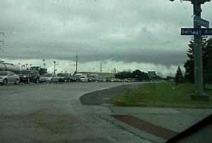 Gridlocked traffic around the Louisiana State University campus in Baton Rogue