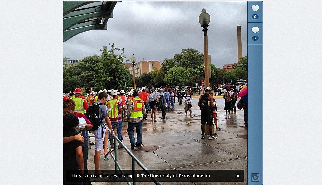 University of Texas threat leads to evacuation order (Instagram photo/ xxstevehardyxx)