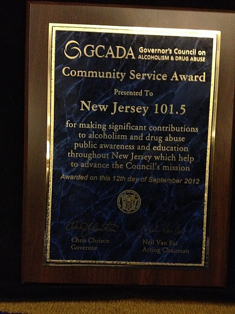 Community Service Award presented to New Jeresey 101'5's Stacy Proebstle by the Governor's Council on Alcoholism & Drug Abuse
