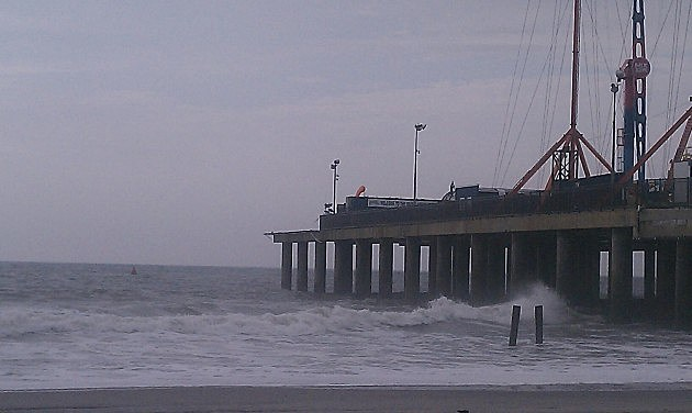 Surf crashes against the Steel Pier in Atlantic City on Tuesday.
