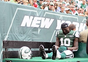 Santonio Holmes is carted off the field