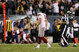 Lawrence Tynes reacts after missing a field goal against the Philadelphia Eagles