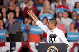 President Barack Obama speaks at a campaign rally at Desert Pines High School in Nevada