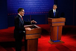 Mitt Romney and President Obama on stage during the debate