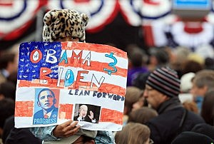 Obama supporter at campaign rally in Denver following debate.