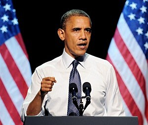 "President Barack Obama speaks at the ""30 Days To Victory"" fundraising concert at the Nokia Theater L.A. Live"