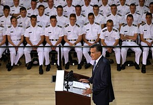Mitt Romney delivers a foreign policy speech at the Virginia Military Institute in Lexington, Virginia.