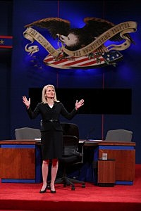 Debate moderator Martha Raddatz speaks on stage prior to the vice presidential debate