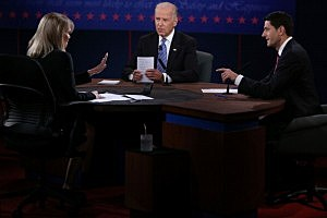 Vice President Joe Biden (C) and Republican vice presidential candidate U.S. Rep. Paul Ryan (R-WI) (R) participate in the vice presidential debate as moderator Martha Raddatz looks on at Centre College October 11, 2012 in Danville, Kentucky.