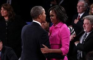 President Barack Obama hugs Michelle Obama after Presidential Debate