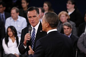 Mitt Romney (R) and Preisdent Obama (D) at the Presidential Debate