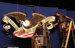Workers prepare the stage for the final presidential debate at Lynn University in Boca Raton, Florida