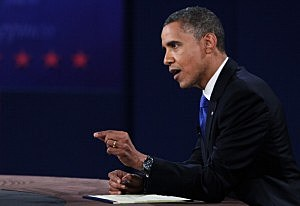 President Barack Obama during the Presidential Debate at Lynn University in Florida