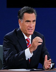 Mitt Romney speaks during Presidential Debate at Lynn University in Florida.