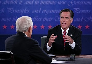 Republican presidential candidate Mitt Romney speaks during the third Presidential debate