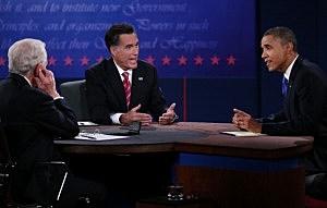 President Barack Obama (R) debates with Republican presidential candidate Mitt Romney as moderator Bob Schieffer listens