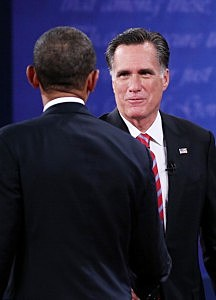 President  Barack Obama (L) shakes hands with Republican presidential candidate Mitt Romney after the debate