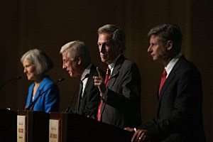 Constitution Party presidential candidate Virgil Goode (2nd R) makes a point as Jill Stein (L) from the Green Party, Rocky Anderson (2nd L) from the Justice Party and Gary Johnson (R) from the Libertarian Party look on during a debate hosted by the Free and Equal Elections Foundation