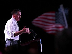 Mitt Romney speaks during a campaign rally at the Reno Event Center in Reno, Nevada