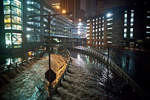 Water rushes into the Carey Tunnel (previously the Brooklyn Battery Tunnel), caused by Hurricane Sandy,