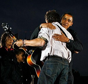President Obama hugs singer Bruce Springsteen during a 2008 campaign appearance