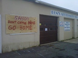 A business in Union Beach with a message for Sandy.