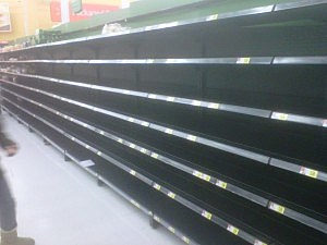 Empty shelves at Walmart in Ocean Township, Monmouth County.