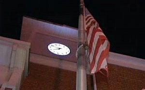 Flag at half-staff outside the Browns Mills fire station