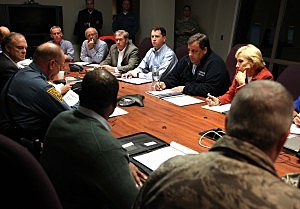 Governor Chris Christie and Lt. Governor Kim Guadagno meet with Office of Emergency Management, cabinet members and senior staff in preparation of Hurricane Sandy at the Regional Operations Intelligence Center (ROIC) in West Trenton,