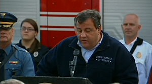 Governor Christie at a press conference following Sandy.