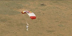 Felix Baumgartner drifts towards Earth on his 23-mile skydive.