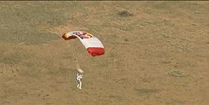 Felix Baumgartner drifts towards Earth on his 23-mile skydive.