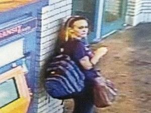 Kara Alongi on security camera at Rahway train station