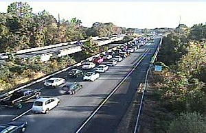 I-95 traffic in Bucks County approaching Route 1
