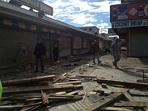 National Guard troops inspect the Seaside Heights boardwalk