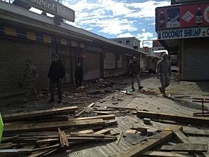 National Guard troops inspect the Seaside Heights boardwalk