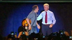 Bruce Springsteen with former President Bill Clinton at an Obama rally in Parma, Ohio.