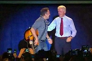 Bruce Springsteen with former President Bill Clinton at an Obama rally in Parma, Ohio (Townsquare Media NJ)