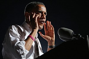 President Barack Obama addresses a campaign rally at Cleveland's Burke Lakefront Airport