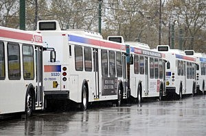 SEPTA buses at Frankford terminal during Sandy.