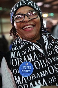 Linda Pennywell, a supporter and volunteer for U.S. President Barack Obama, attends a campaign rally at the Franklin County fairgrounds in Ohio