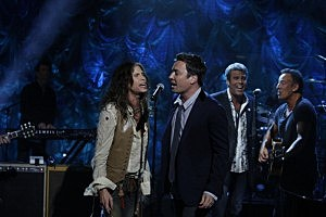 (L-R)  Steven Styler, Jimmy Fallon, Mark Rivera and Bruce Springsteen participate in NBCUniversal's Hurricane Sandy: Coming Together