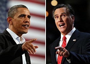 Barack Obama (L) and Mitt Romney.