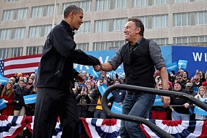 President Barack Obama and rocker Bruce Springsteen at a rally in Madison, Wisconsin