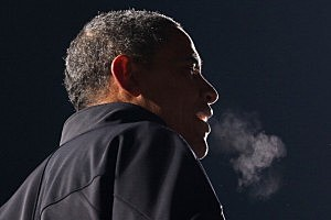 President Barack Obama speaks during his last rally the night before the general election in Des Moines, Iowa