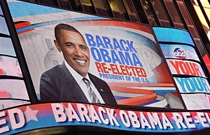 President Obama's victory as displayed in Times Square