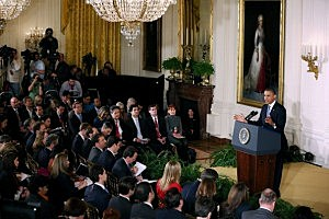 Press gathered for President Obama's press conference in the East Room of the White House