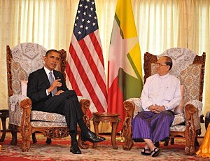 President Barack Obama meets with Burmese President U Thein Sein (R) at Yangon Regional Parliament