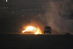 Israeli artillery shells attack a target in the Gaza Strip
