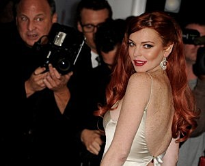 "Lindsay Lohan arrives at a party to celebrate Lifetime's ""Liz & Dick"""